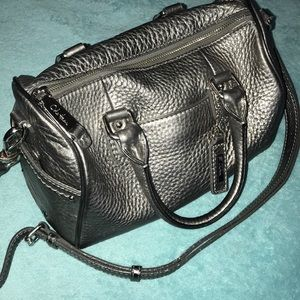 Cole Haan Metallic Silver Textured Leather Bag GUC
